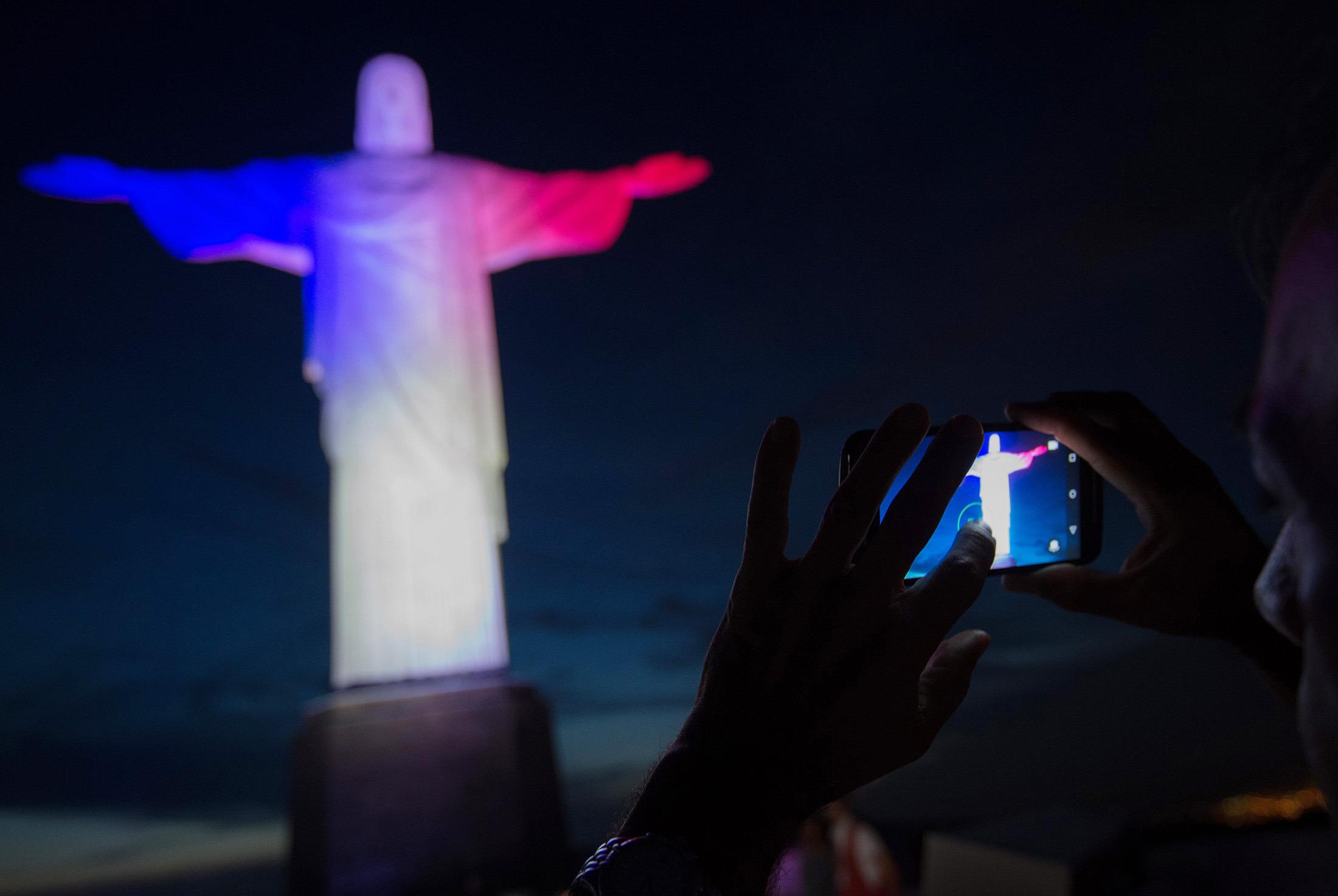 Rio de Janeiro, Brazil in red, white, blue color