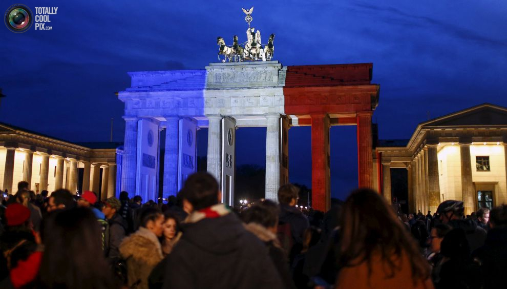 Brandenburg gate in red, white, blue color