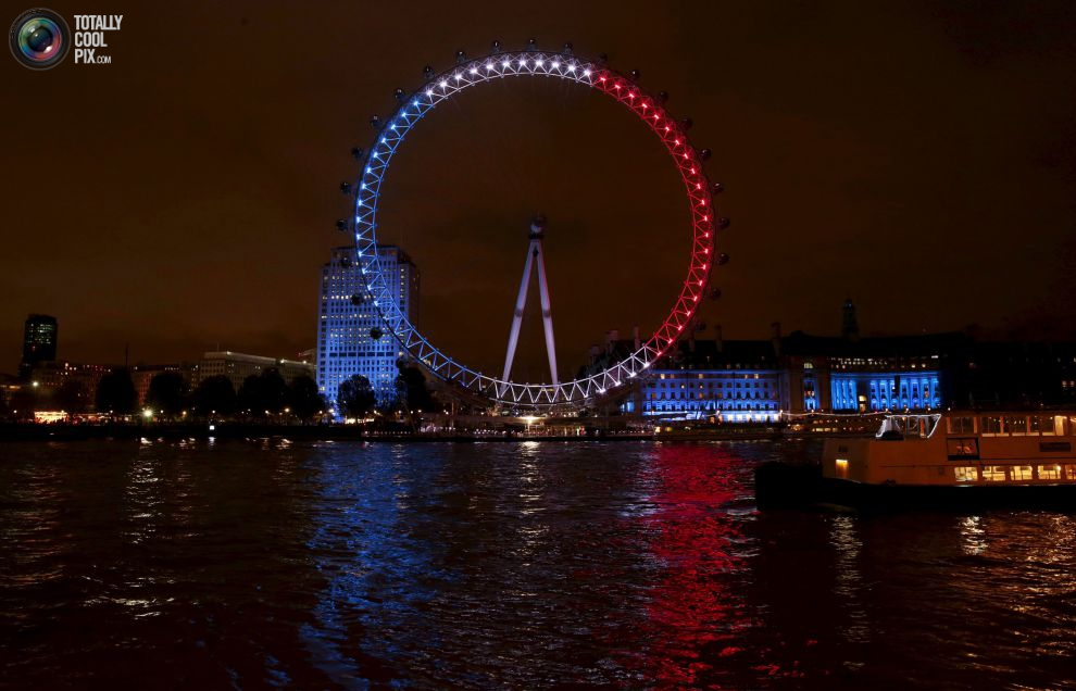 London Eye in London in red, white, blue color