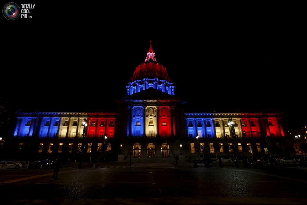 San Francisco City Hall is lit up with blue, white and red 1
