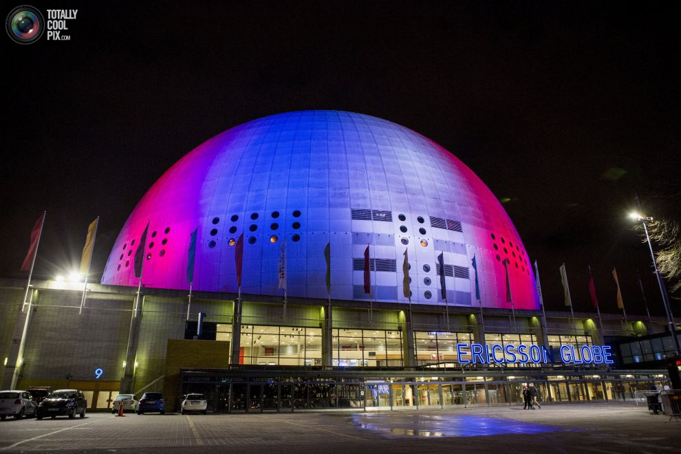The Ericsson Globe Arena in Stockholm in red, white, blue color
