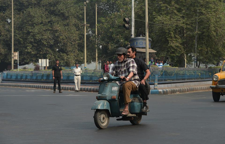 amitabh Nawazuddin on a scooter