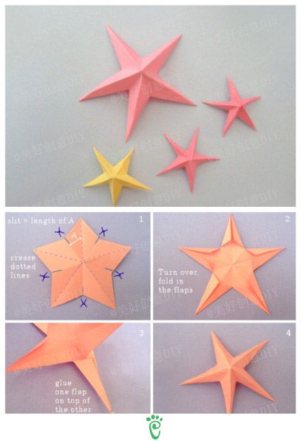 Easy home made diy for christmas decoration for How to make 3d paper stars easy