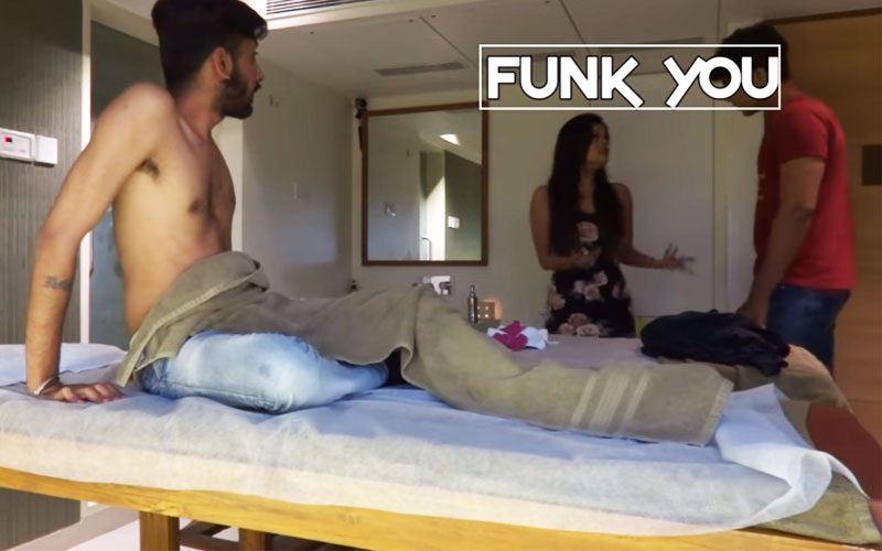 funk you girl giving massage prank