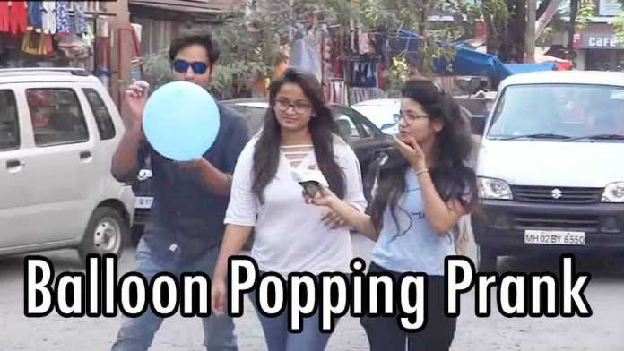 Baloon poping prank gone wrong