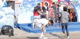 Snow spray prank on girls