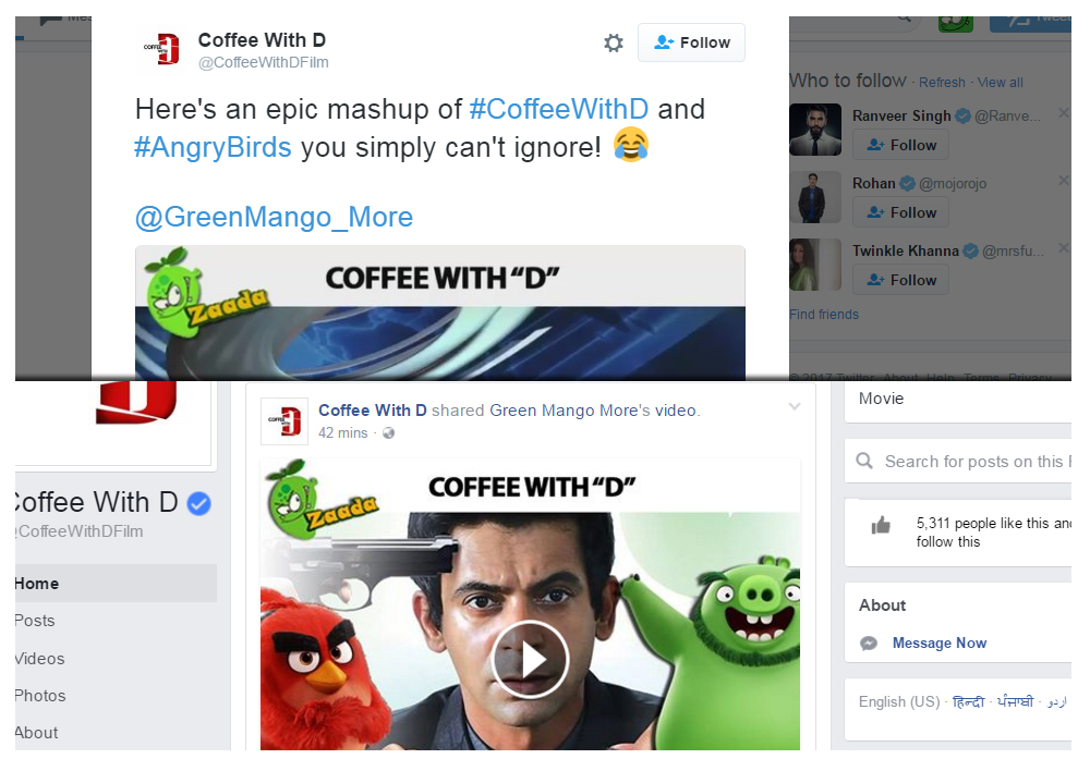 Sunil Grover's Coffee With D and Angry Birds Mashup shared on twitter, facebook