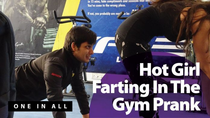 hot girl farting in gym prank