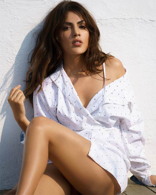 Rhea Chakraborty looks hot in white color