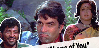 Basanti from sholay dancing on Shape of you funny mashup