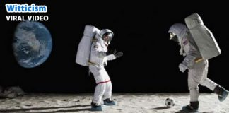 Real footage of astronauts playing and falling in zero gravity moon space
