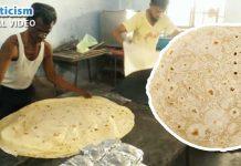 Indian Man making giant Chapatis