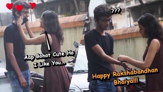 hot girl tying rakhi to stranger prank