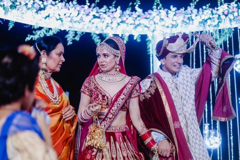 Prince Narula and Yuvika Chaudhary having fun at their wedding